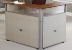 48'' W x 37'' D L-Shaped Reception Station with Gray Frame and Cherry - Beige Vinyl [PG296-GF-BVC-FS-MFO]