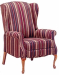 4830 Recliner: 2 Position Push Mechanism with Upholstered Spring Back & Seat with Queen Anne Legs - Grade 2 [4830-GRADE2-ACF]