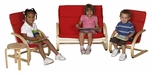 Birch 4 Piece Bentwood Comfort Living Room Set with 1.5'' Thick Removable Cushions [ELR-0368-ECR]