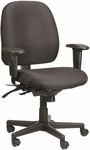 4x4 Mid Back 29.5'' W x 26'' D x 37'' H Adjustable Height Multi Function Fabric Task Chair - Black [49802A-AT33-FS-EURO]