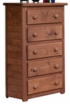 Rustic Style 30''W x 16''D Solid Pine 5 Drawer Chest - Mahogany Stain [31005-FS-CHEL]