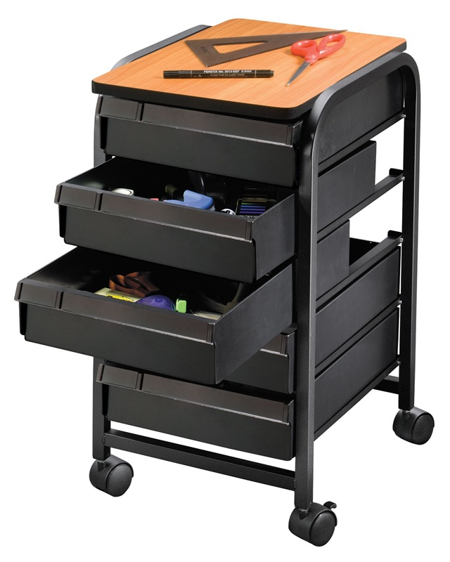 5 Drawer Mobile Organizer With PVC Laminate Surface And