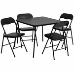 5 Piece Black Folding Card Table and Chair Set [JB-1-GG]