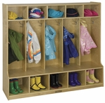 Birch Hardwood Five Section 10 Hook Coat Locker with Bench and 10 Cubbies [ELR-0453-ECR]
