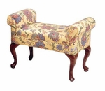 505 Armed Bench w/ Upholstered Web Seat & Queen Anne Legs - Grade 2 [505-GRADE2-ACF]