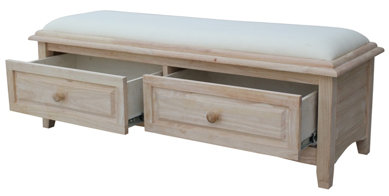 Butcher Block Solid Parawood Upholstered Backless Bench