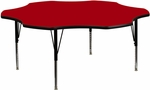 60'' Flower Red Thermal Laminate Activity Table - Height Adjustable Short Legs [XU-A60-FLR-RED-T-P-GG]