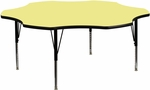 60'' Flower Yellow Thermal Laminate Activity Table - Height Adjustable Short Legs [XU-A60-FLR-YEL-T-P-GG]