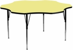 60'' Flower Yellow Thermal Laminate Activity Table - Standard Height Adjustable Legs [XU-A60-FLR-YEL-T-A-GG]