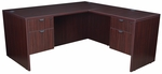 Legacy 60''W x 65''D Double Locking Pedestal Wooden L-Desk with Return - Mahogany [LLD6030MH-FS-REG]
