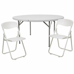 60'' Round Banquet Table Set with 8 Folding Chairs [DAD-YCZ-154-GW-RUT-I-WHITE-SET-GG]