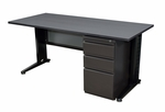 Fusion 60''W x 24''D Single Pedestal Laminate Desk with PVC Edge - Grey [MSP6024GY-FS-REG]