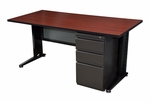 Fusion 60''W x 24''D Single Pedestal Laminate Desk with PVC Edge - Mahogany [MSP6024MH-FS-REG]
