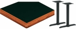 24'' x 60'' Laminate Table Top with Bullnose Wood Edge and 2 Bases - Standard Height [ATWB2460-T0522M-SAT]