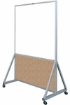 629 Series Multi-Use Double Sided Room Divider - Markerboard with Cork Kick Panel - 48''W x 78''H [629-4L-CLA]