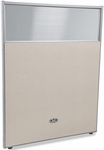 RiZe 63'' H x 48'' W Poly Panel With Translucent Tops and Gray Frame - Beige Vinyl [PG6348-GF-BV-MFO]