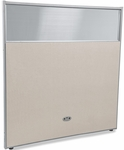 RiZe 63'' H x 61'' W Poly Panel With Translucent Tops and Gray Frame - Beige Vinyl [PG6360-GF-BV-MFO]