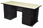 Fusion 66''W x 30''D Double Pedestal Laminate Desk with PVC Edge - Maple [MDP6630PL-FS-REG]
