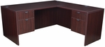 Legacy 66''W x 65''D Double Locking Pedestal Wooden L-Desk with Return - Mahogany [LLD6630MH-FS-REG]