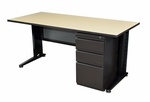 Fusion 66''W x 24''D Single Pedestal Laminate Desk with PVC Edge - Beige [MSP6624BE-FS-REG]