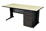 Fusion 66''W x 24''D Single Pedestal Laminate Desk with PVC Edge - Maple [MSP6624PL-FS-REG]