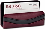 Classic Two Tone Leather Business Card Holder - Burgundy and Black [A7007-FS-DAC]