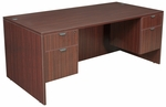 Legacy 71''W x 30''D Wooden Desk with Two Locking Pedestals - Mahogany [LDP7135MH-FS-REG]