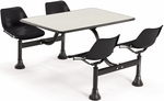 71'' D Cluster Table - Black Seat and Beige Nebula Laminate Top [1003-BLK-BGNB-MFO]