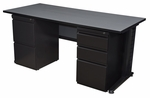 Fusion 72''W x 30''D Double Pedestal Laminate Desk with PVC Edge - Grey [MDP7230GY-FS-REG]