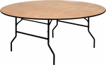 72'' Round Wood Folding Banquet Table with Clear Coated Finished Top [YT-WRFT72-TBL-GG]