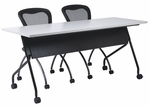 OSP Furniture 72''W x 24''D Training Table - Black Frame with Grey Top [84226BG-OS]