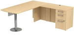300 Series 72'' W x 30'' D Peninsula Desk in L-Configuration with 60'' W Glass Modesty Panel - Natural Maple [300S043AC-FS-BBF]