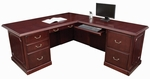 Prestige Wooden L-Shaped Desk with 2 Locking Pedestals - Mahogany [TVLD7236MH-FS-REG]