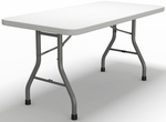 7700 Series 60'' W x 30'' D Rectangular Folding Table - Textured White with Dark Gray Frame [773060DGWT-FS-MAY]