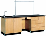 Science Instructor's Wooden Desk with 1'' Thick Black Epoxy Resin Top - 96''W x 30''D x 36''H [1116K-DW]