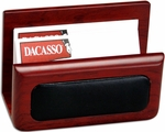 Wood and Leather Business Card Holder - Rosewood and Black [A8007-FS-DAC]