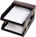 Wood and Leather Double Front Load Letter Trays - Rosewood and Black [A8020-FS-DAC]