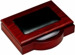 Wood and Leather 4'' x 6'' Memo Holder - Rosewood and Black [A8009-FS-DAC]