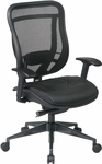 Space 818 Breathable Mesh Back and Black Leather Seat Executive Chair with 2-to-1 Synchro Tilt - Black [818-41G9C18P-FS-OS]