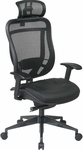 Space 818 Breathable Mesh Back and Black Leather Seat Executive Chair with 2-to-1 Synchro Tilt and Matex Headrest - Black [818-41G9C18P-HRX818-FS-OS]
