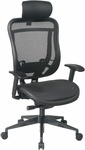 Space 818 Breathable Mesh Back and Seat Executive Office Chair with 2-to-1 Synchro Tilt and Leather Headrest - Black [818-11G9C18P-HRL818-FS-OS]