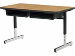 870 Series Cantilever-Leg Double Student Desk with Laminate Top - 48''W x 24''D x 22''H - 30''H [878-VCO]