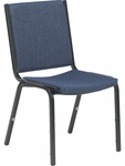 8800 Series Armless Comfort Stacker Chair in Sedona Sailor Fabric and Char Black Frame - 19.5''W x 22.75''D x 33''H [8802-BLU204-BLK01-VCO]