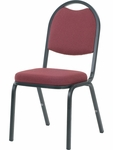 Quick Ship 8900 Series Stack Chair with Round Back and Crown Seat in Sedona Ruby Fabric and Char Black Frame - 18''W x 22''D x 35.5''H [8915-RED201-BLK01-VCO]
