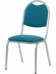 8900 Series Stack Chair with Round Back and Dome Seat in Sedona Ocean Fabric and Silver Mist Frame - 18''W x 22''D x 35.5''H [8917-BLU205-GRY02-VCO]