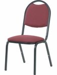 8900 Series Stack Chair with Round Back and Dome Seat in Sedona Ruby Fabric and Char Black Frame - 18''W x 22''D x 35.5''H [8917-RED201-BLK01-VCO]