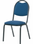 8900 Series Stack Chair with Round Back and Dome Seat in Sedona Sailor Fabric and Char Black Frame - 18''W x 22''D x 35.5''H [8917-BLU204-BLK01-VCO]
