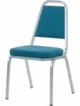 8900 Series Stack Chair with Trapezoid Back and Crown Seat in Sedona Ocean Fabric and Silver Mist Frame - 18''W x 22''D x 34.5''H [8925-BLU205-GRY02-VCO]
