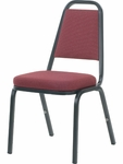 8900 Series Stack Chair with Trapezoid Back and Crown Seat in Sedona Ruby Fabric and Char Black Frame - 18''W x 22''D x 34.5''H [8925-RED201-BLK01-VCO]