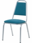 8900 Series Stack Chair with Trapezoid Back and Dome Seat in Sedona Ocean Fabric and Silver Mist Frame - 18''W x 22''D x 34.5''H [8926-BLU205-GRY02-VCO]